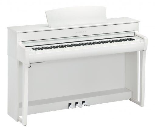 White Yamaha Clavinova CLP-745 at an angle